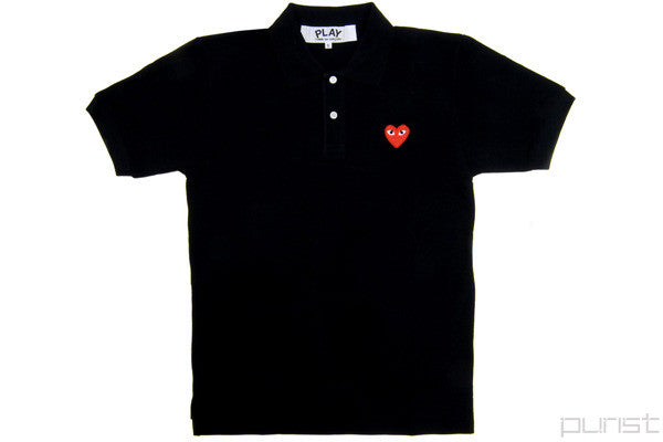 PLAY Red Heart Black Polo - Womens