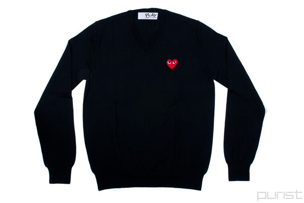 Red Heart Black V Neck Sweater