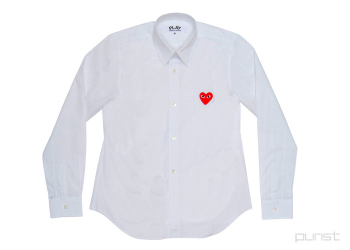 Red Heart White Dress Shirt - Womens