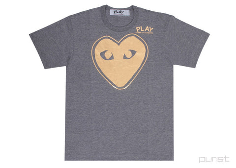 Gold Heart Outline - Grey - Womens