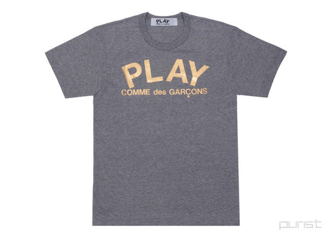 Gold Foil Play Logo - Grey - Womens