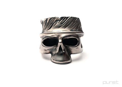 SKULL x HALF FEATHER RING