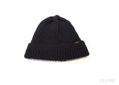 Cotton Rib Knit Cap - Black