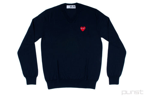 Red Heart Wool V-Neck Sweater - Womens