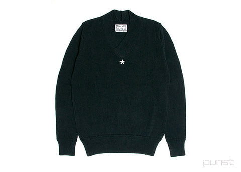 One Star V-Neck Knit Sweater - Black