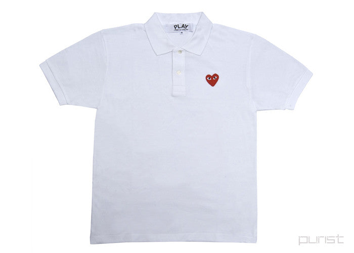 Red Heart White Polo - Mens