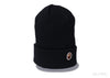 A BATHING APE ONE POINT KNIT CAP - Black
