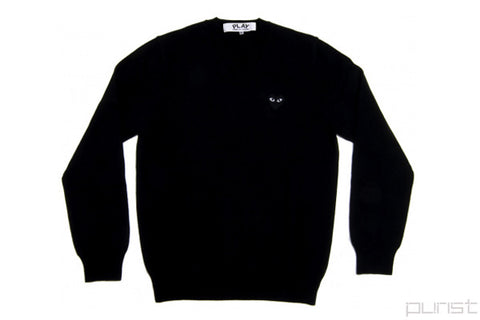 Black Heart Black V-Neck Sweater