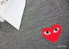 Grey V-Neck w/ Red Heart - Womens