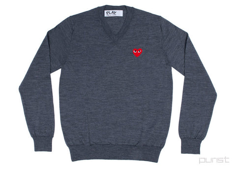 Grey V-Neck w/ Red Heart - Mens