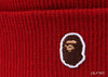 A BATHING APE ONE POINT KNIT CAP - Red