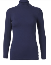 HIGH NECK TOP SLEEK L. SLEEVE- DEEP BLUE
