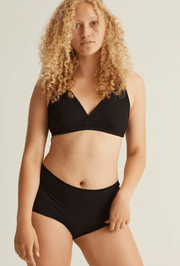 ORGANIC COTTON SOFT-BRA CORE BRALETTE- BLACK