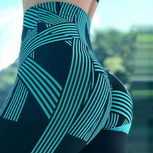 High Waist Leggings Ladies Digital Printing Striped Fitness Leggings