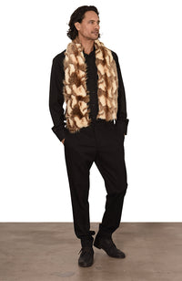 Coyote Scarf Faux Fur Desert Sand