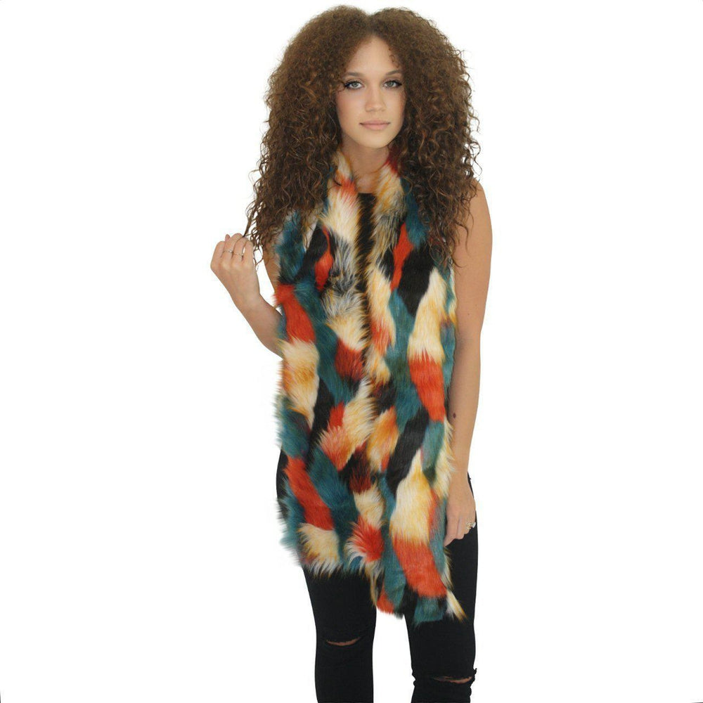 Bear Scarf 'Lost in the City' Faux Fur Scarf Tribeca Red-Faux Addict