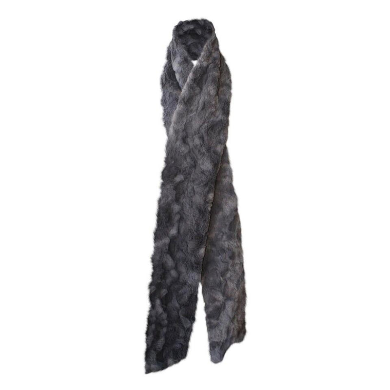 Chinchilla Bella Faux Fur Scarf Dark Grey-Faux Addict