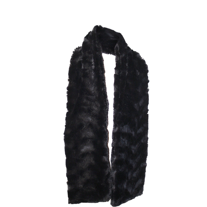 Chinchilla Bella Faux Fur Scarf Black Glamour-Faux Addict