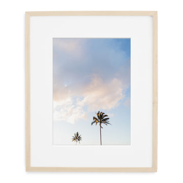 Framed photo of palm trees in hawaii kauai in natural wood frame.