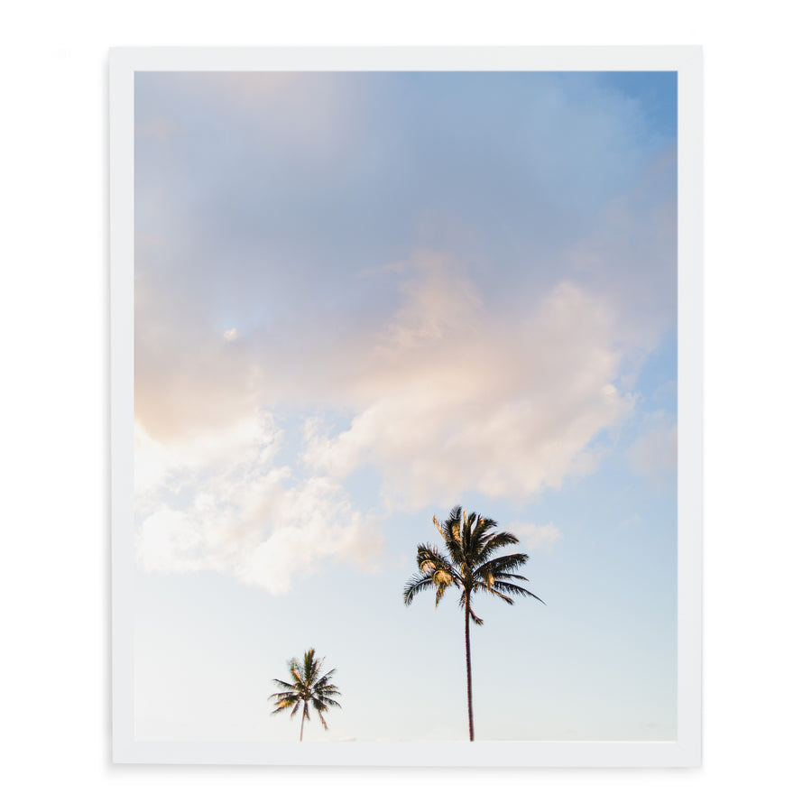 Framed picture of palm trees in hawaii kauai in white modern wood frame.