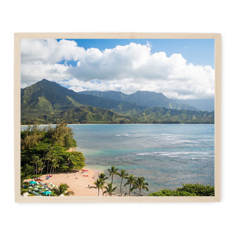 Princeville Resort view of Hanalei Bay Kauai Hawaii photo print for sale in a modern natural wood frame.
