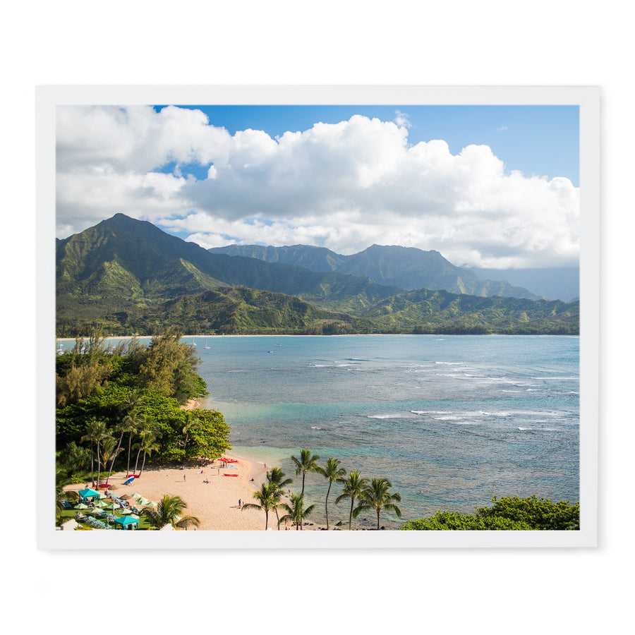 Princeville Resort view fine art photo framed print on modern white frame with no mat. Kauai Hawaii.