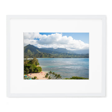 Hanalei Bay photo framed print with white modern frame with a white mat.