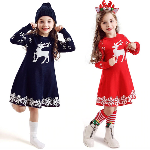 Kids Dresses For Girls Long Sleeve Deer Snowflake