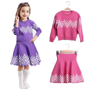 Girls Winter Dress Geometric Pattern Long Sleeve  2pcs