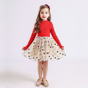 Stars Dresses For Girls Princess - Long Sleeves 3-8T