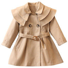 Load image into Gallery viewer, Girls coat long sleeve Solid double-breasted dust coat 2-7yrs
