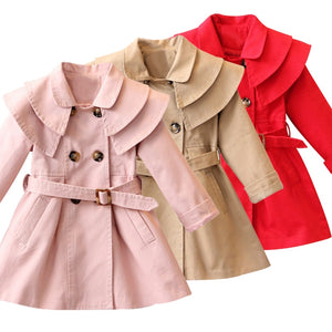 Girls coat long sleeve Solid double-breasted dust coat 2-7yrs
