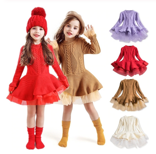 Xmas Winter Girl Dress Long Sleeve Knitted Sweater