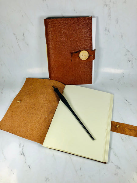 Leather Journal with Wooden Button Latch