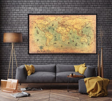 Load image into Gallery viewer, Retro Nautical World Map - Save-TheSeas