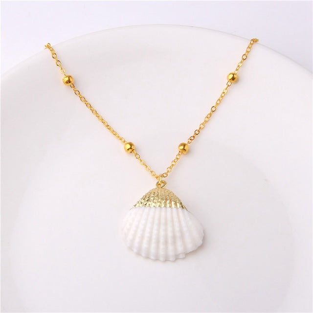 Boho Conch Shells Necklace Sea Beach Shell Pendant Necklace
