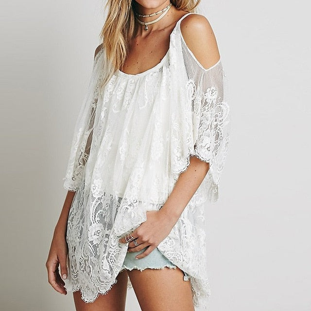 Pareo Beach Cover Up Floral Embroidery Bikini Cover Up Swimwear