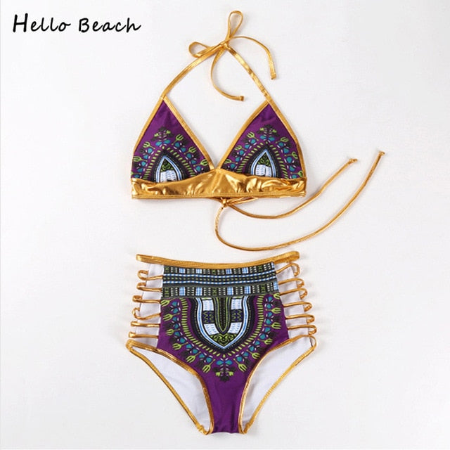 New One Piece Swimsuit Bandage bodysuit African Printed Swimwear