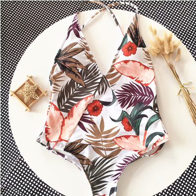 Sexy Deep V neck Swimwear Women Print Backless Bandage Cut Out