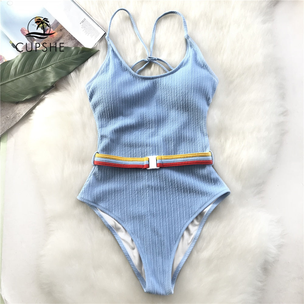 CUPSHE Blue One-piece Swimsuit