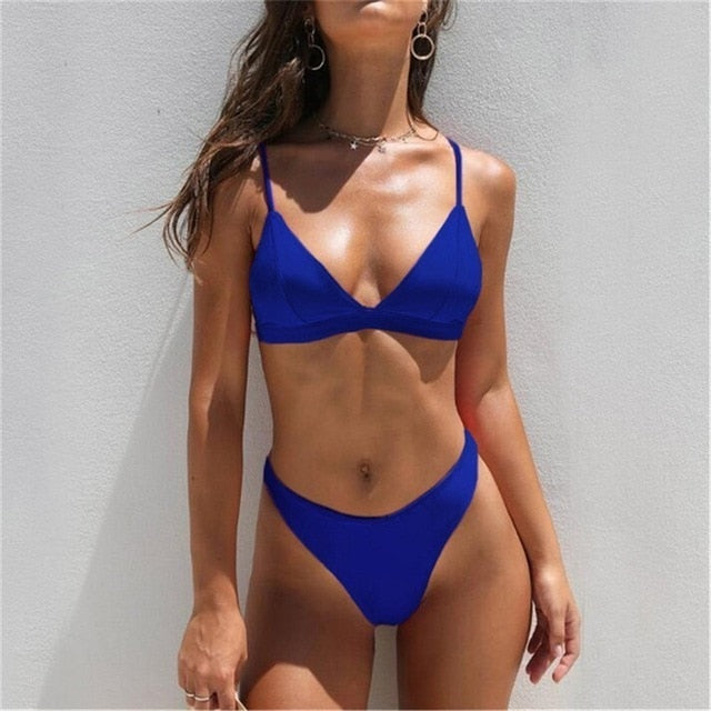 Sexy Triangle Bikini Set Solid Bathing Suit Swimwear