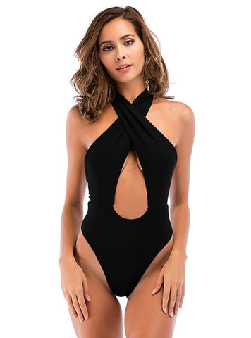 Sexy One Piece Swimsuit Cross Halter High Cut Thong