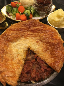 Home cooked Beef Burgundy pie