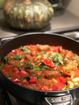 Home cooked pork and bean casserole family size