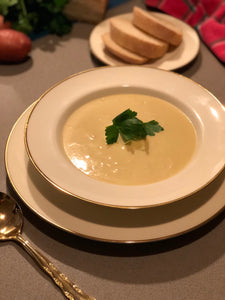 home cooked potato and leek soup