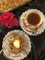 Home cooked apricot crumble single serve with tea