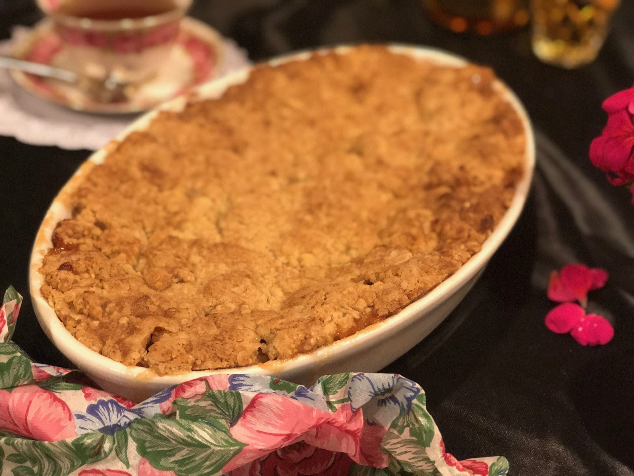 Home cooked apple crumble family size