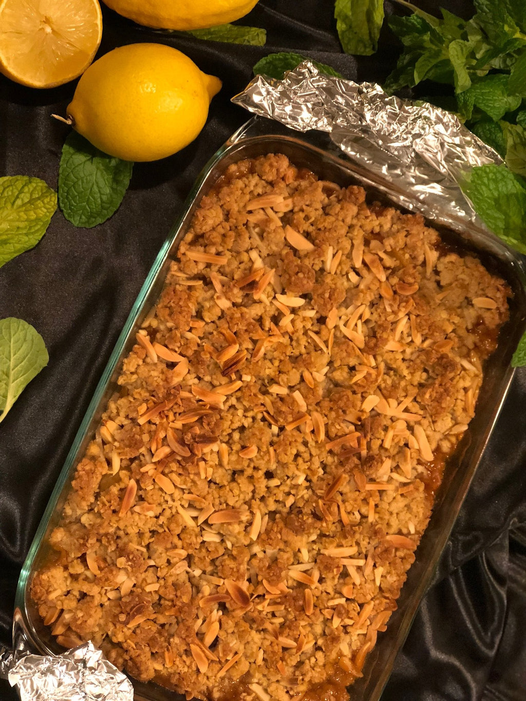 Home cooked apricot crumble family size