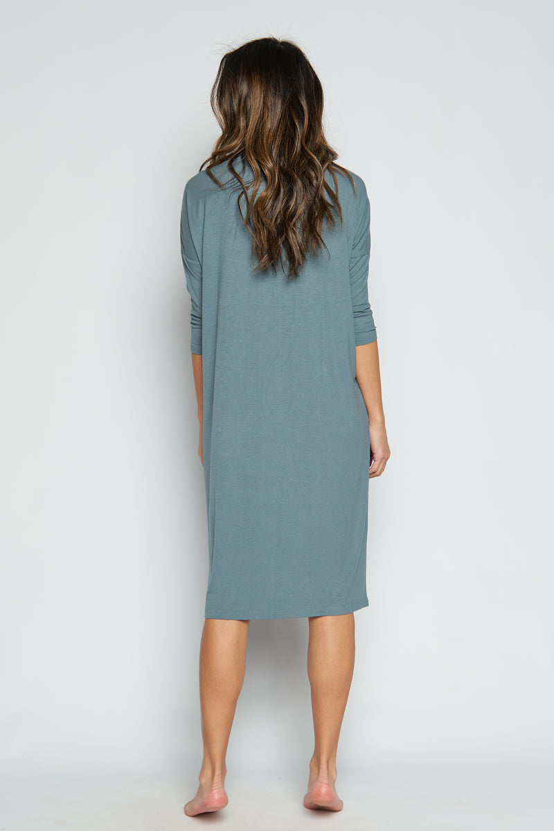 Swing Ribbed Dress 3/4 Sleeve