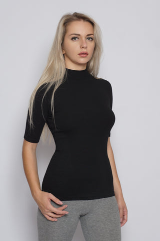 Basic Midi Sleeve Ribbed Mock